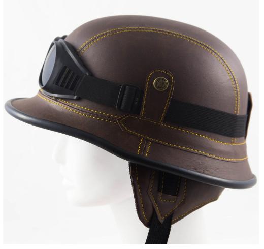 Scooter Helmet German Motorcycle Helmet Open Face Leather Half Helmet Brown