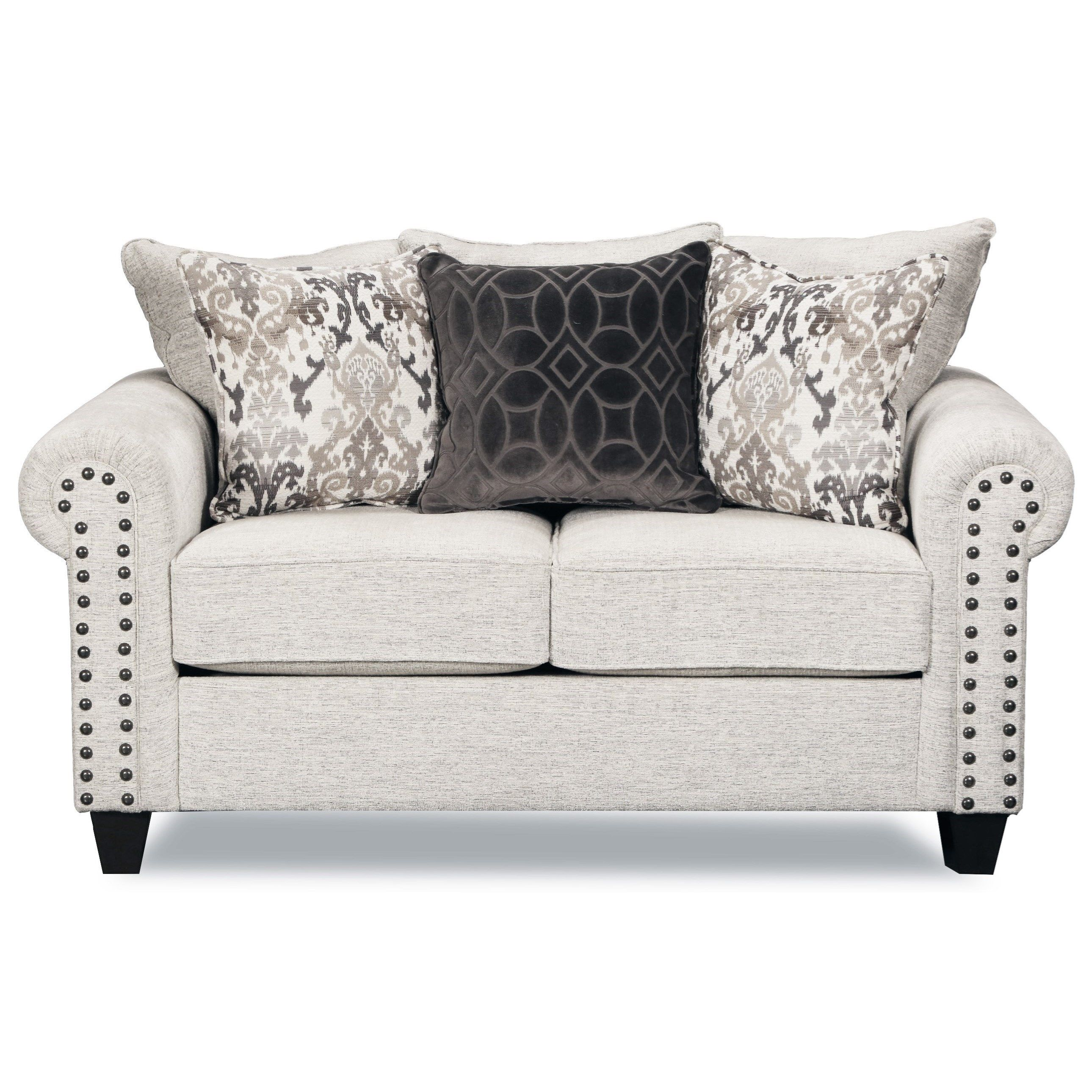 9175BR Transitional Love Seat with Nailheard Trim by