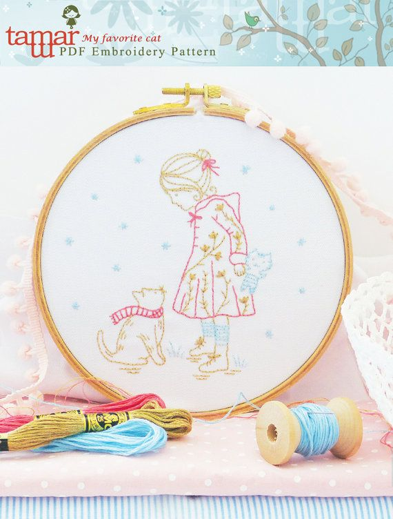 Embroidery Pattern, Instant Download - My favorite cat | bordado ...