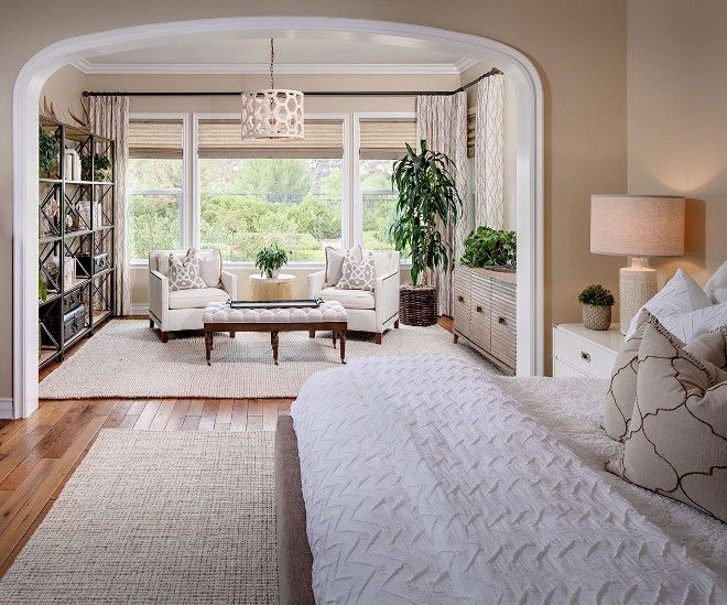 Another Layout Idea Bigger Picture Window With A Double Hung Window On Each Side Green Master Bedroom Bedroom Seating Area Bedroom Sitting Room