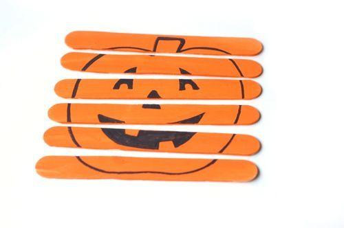 Pumpkin Puzzle - Lolly Sticks and Orange Paint