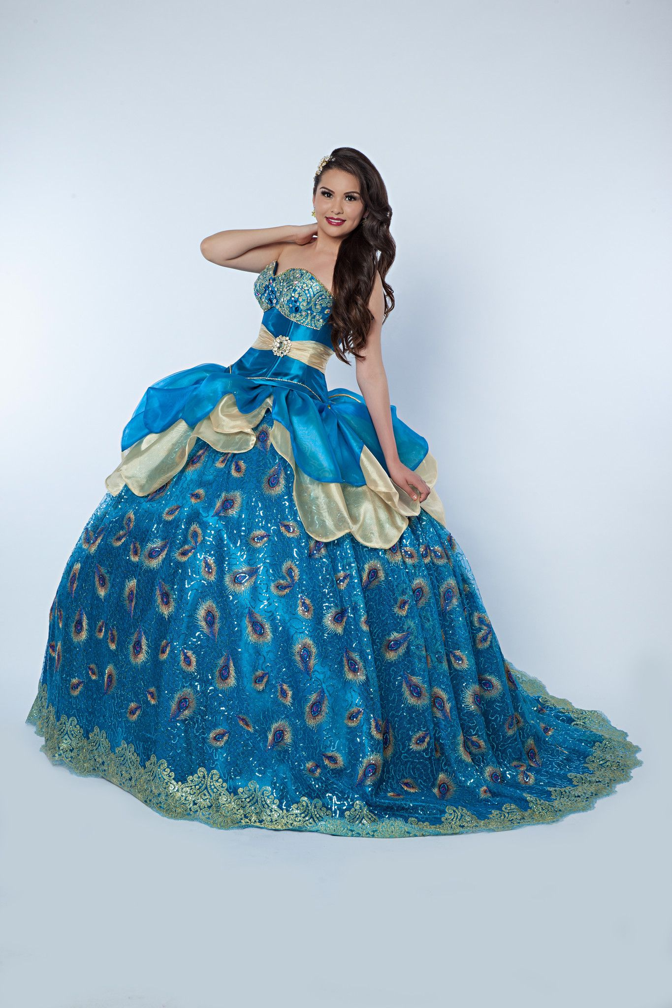 Blue Peacock – Genesis Bridal Two piece quinceañera dress, corset ...