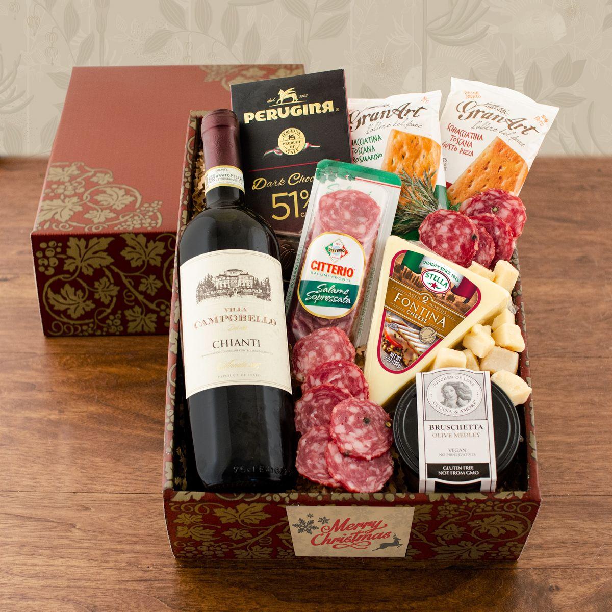 Buona Vita Italian Vino Antipasto Gift Box Christmas Wine Gift Baskets Wine Baskets Wine Gift Box Ideas