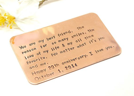 Copper Wallet Card Personalized Metal Card Customized
