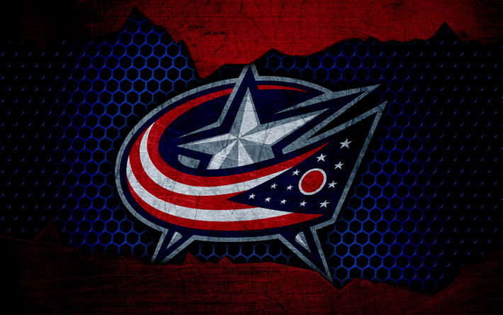 Download wallpapers Columbus Blue Jackets, 4k, logo, NHL, hockey, Eastern Conference, USA, grunge, metal texture, Metropolitan Division