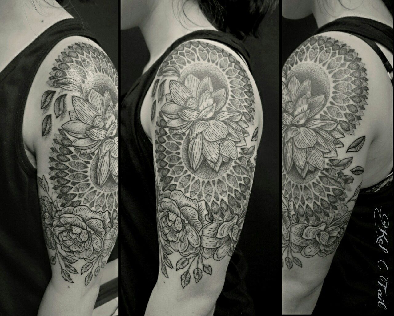Mandala tattoo on pinterest lotus mandala tattoo lotus mandala - Tattoo Dotwork Mandala Peonies And Lotus