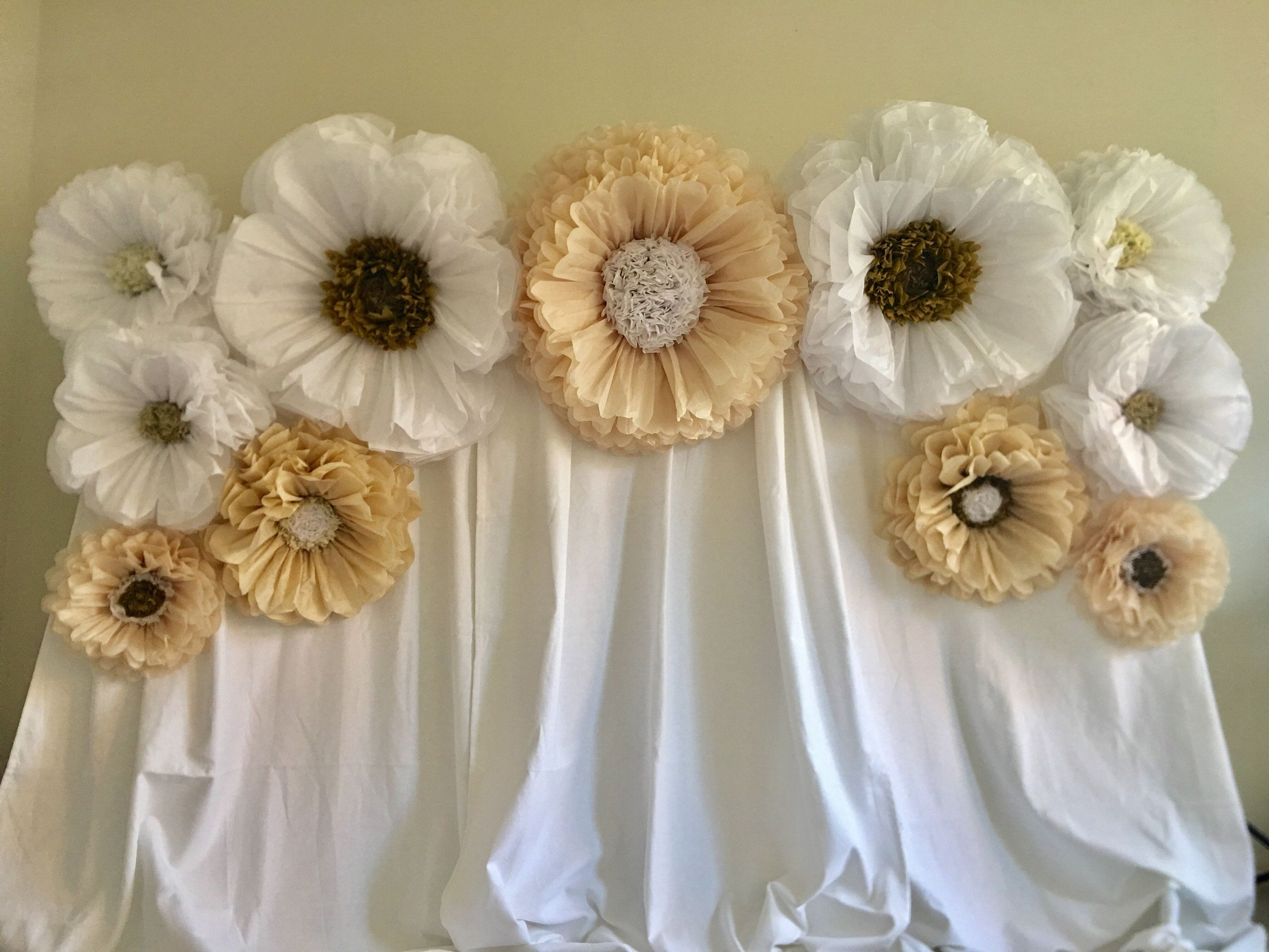 Champagne And White Paper Flower Backdrop Perfect For Weddings Corporate Events And Event Decor In 2020 Paper Flower Backdrop Wedding Paper Flower Backdrop Flower Backdrop