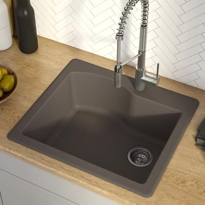 Quarza 25 L X 22 W Drop In Kitchen Sink Granite Kitchen Sinks Kitchen Sink Modern Kitchen Sinks