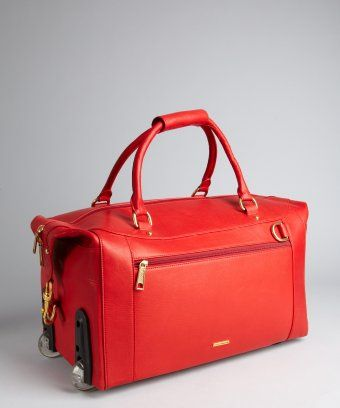 Rebecca Minkoff   blood red leather  Encounter  roll away duffel luggage --  the perfect weekend getaway bag! 15813c10737a0