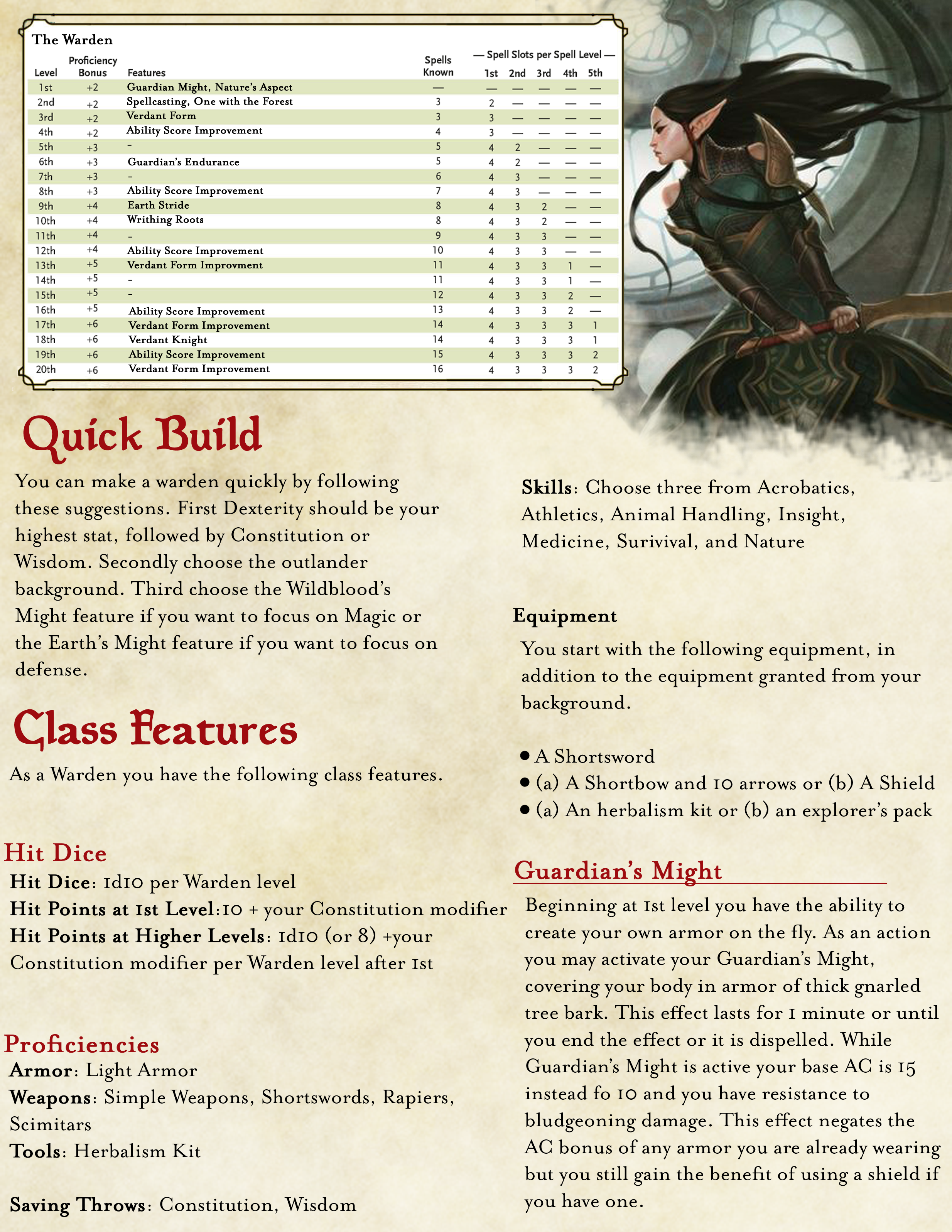 Part 2 of 7 of my Homebrew Warden class balanced for DND 5E