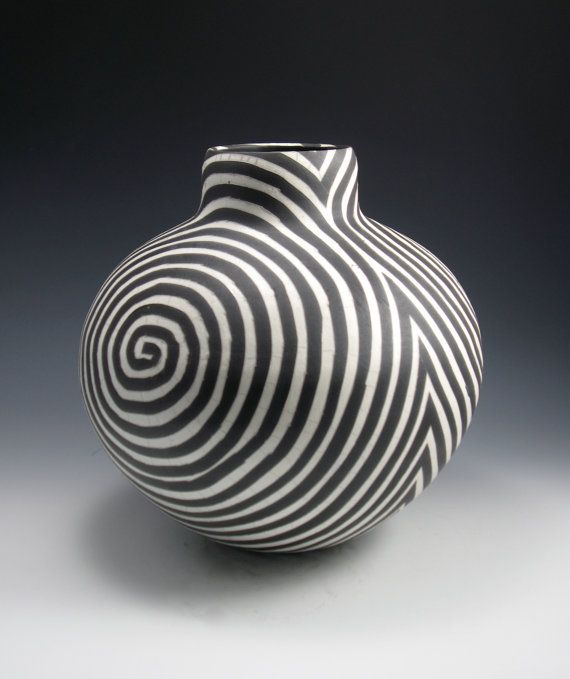 /raku-vase-black-and-white-swirl-pattern