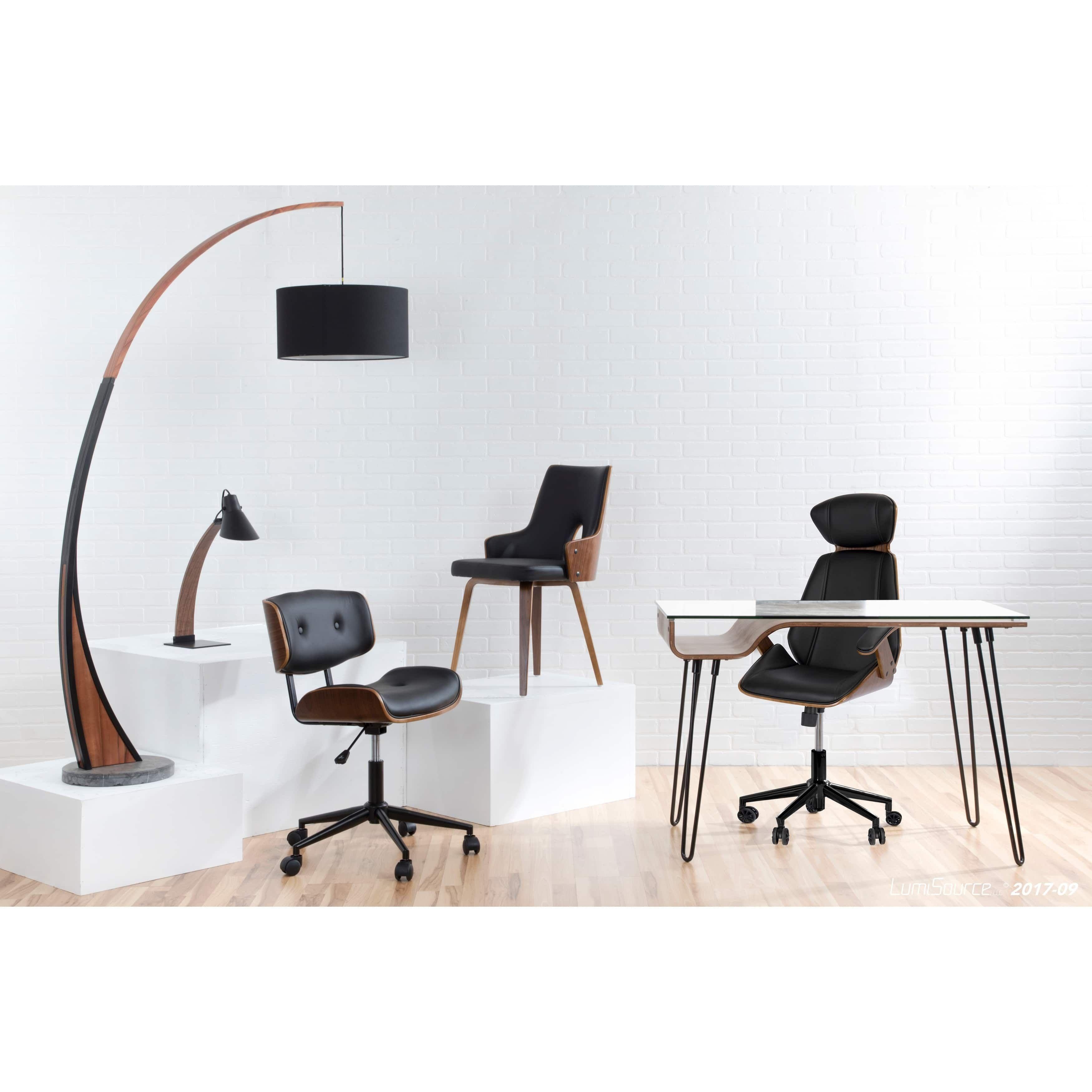 lumisource lombardi mid century modern office chair walnut black rh in pinterest com Art Deco Office Chair Mid Century Modern Desk Chair
