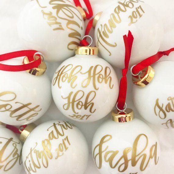 "Personalized Glass Ornament   2.5"" Custom Ball Ornament   Calligraphy Ornament   Personalized ..."