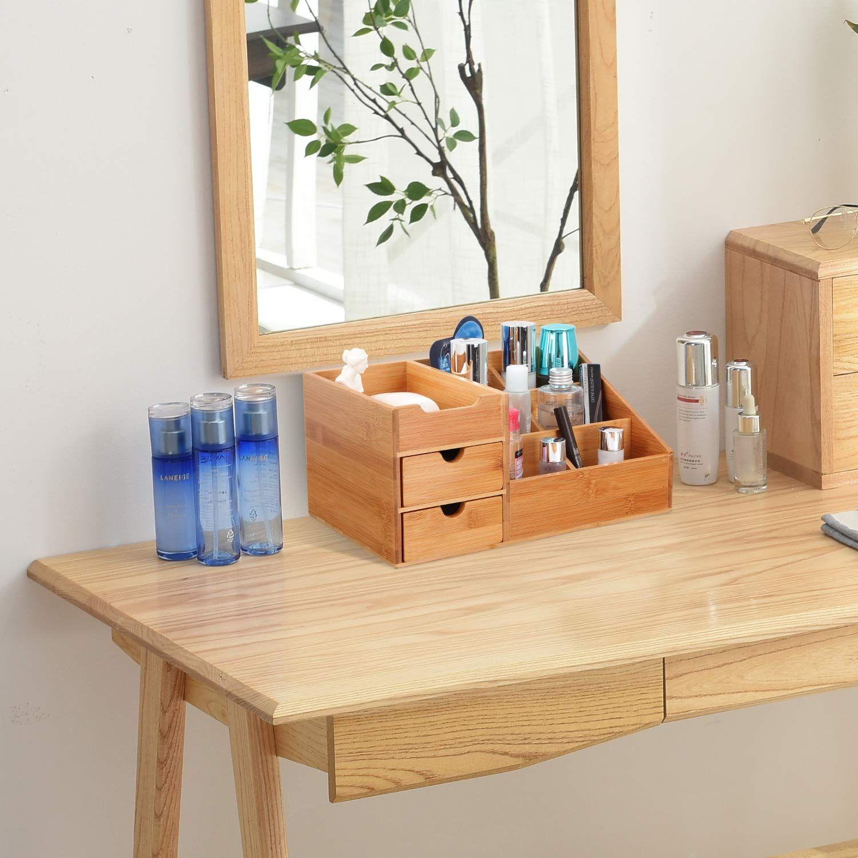 Homode Bamboo Makeup Organizer Cosmetic Storage Display Box With