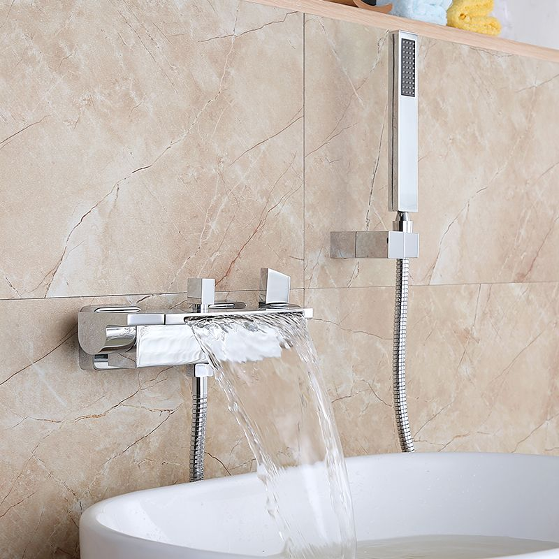 Luxury Bathroom Shower Faucet Chrome Finished Waterfall Bath Faucet ...
