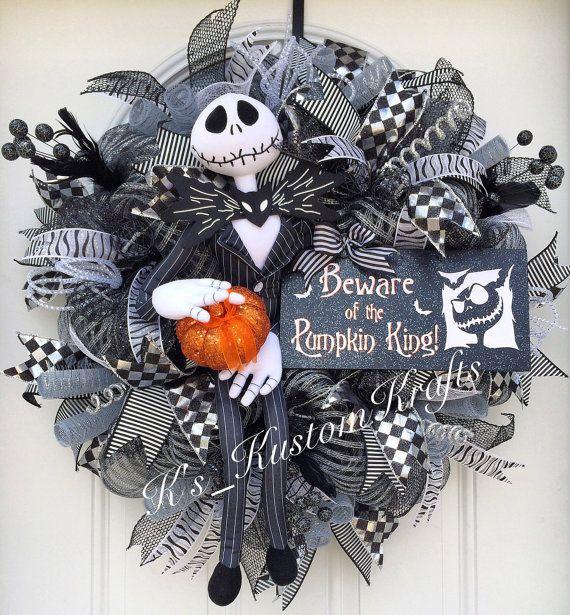 Jack skellington halloween wreath nightmare before - Jack skellington christmas decorations ...