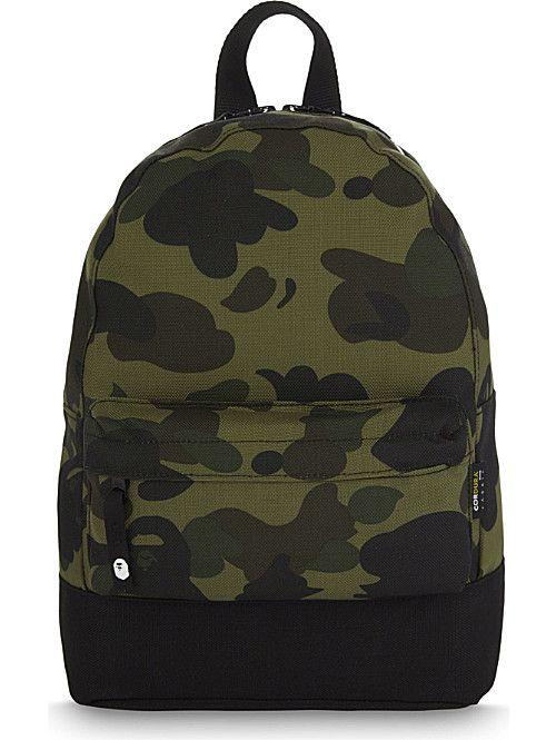 A BATHING APE Camouflage cordura backpack