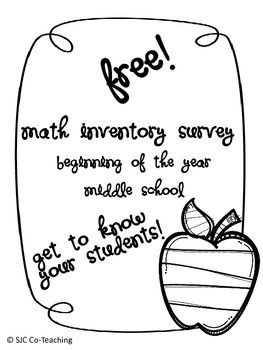 FREE! Beginning of the Year Math Survey for Middle School