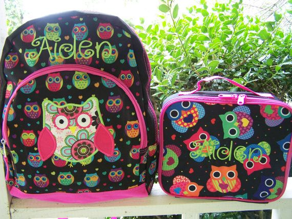 Personalized girls backpack, Owl back pack. personalized backpack ...