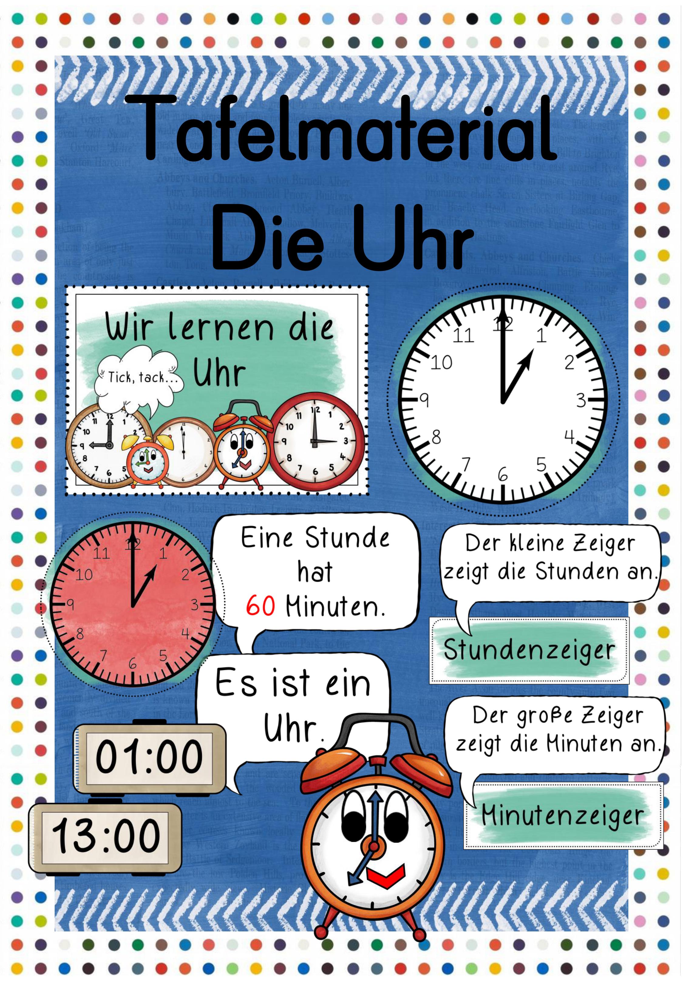 Tafelmaterial Die Uhr – Unterrichtsmaterial im Fach Sachunterricht ...