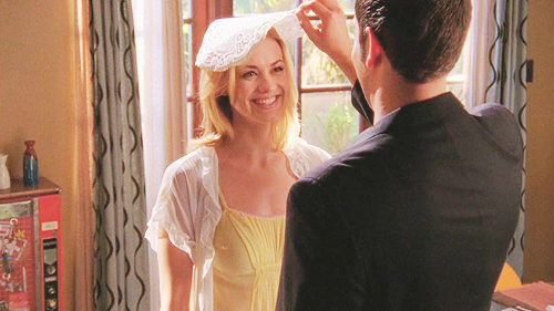Chuck and Sarah - The doily veil! Or is it a napkin? (Or a dishcloth…hehe)