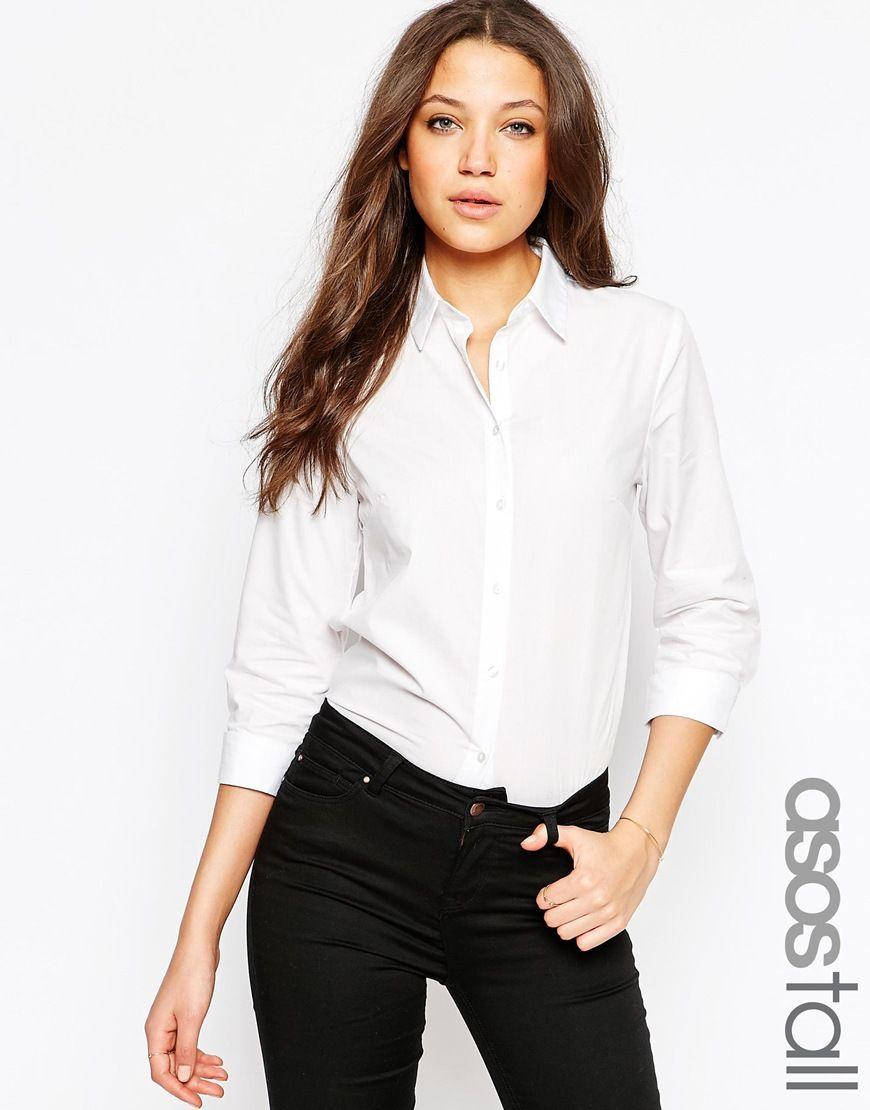 ASOS Tall   ASOS TALL 3/4 Sleeve White Shirt at ASOS
