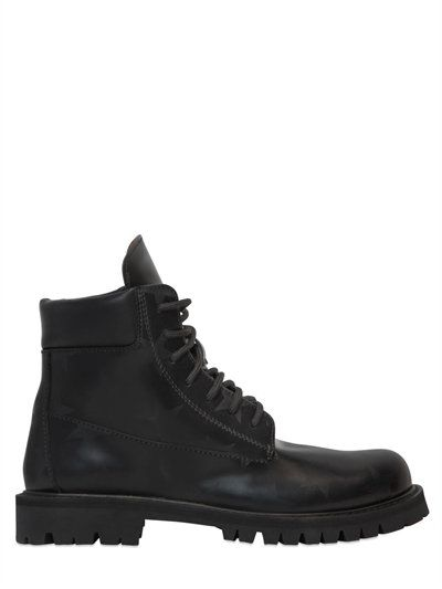 20MM STARS BRUSHED LEATHER BOOTS