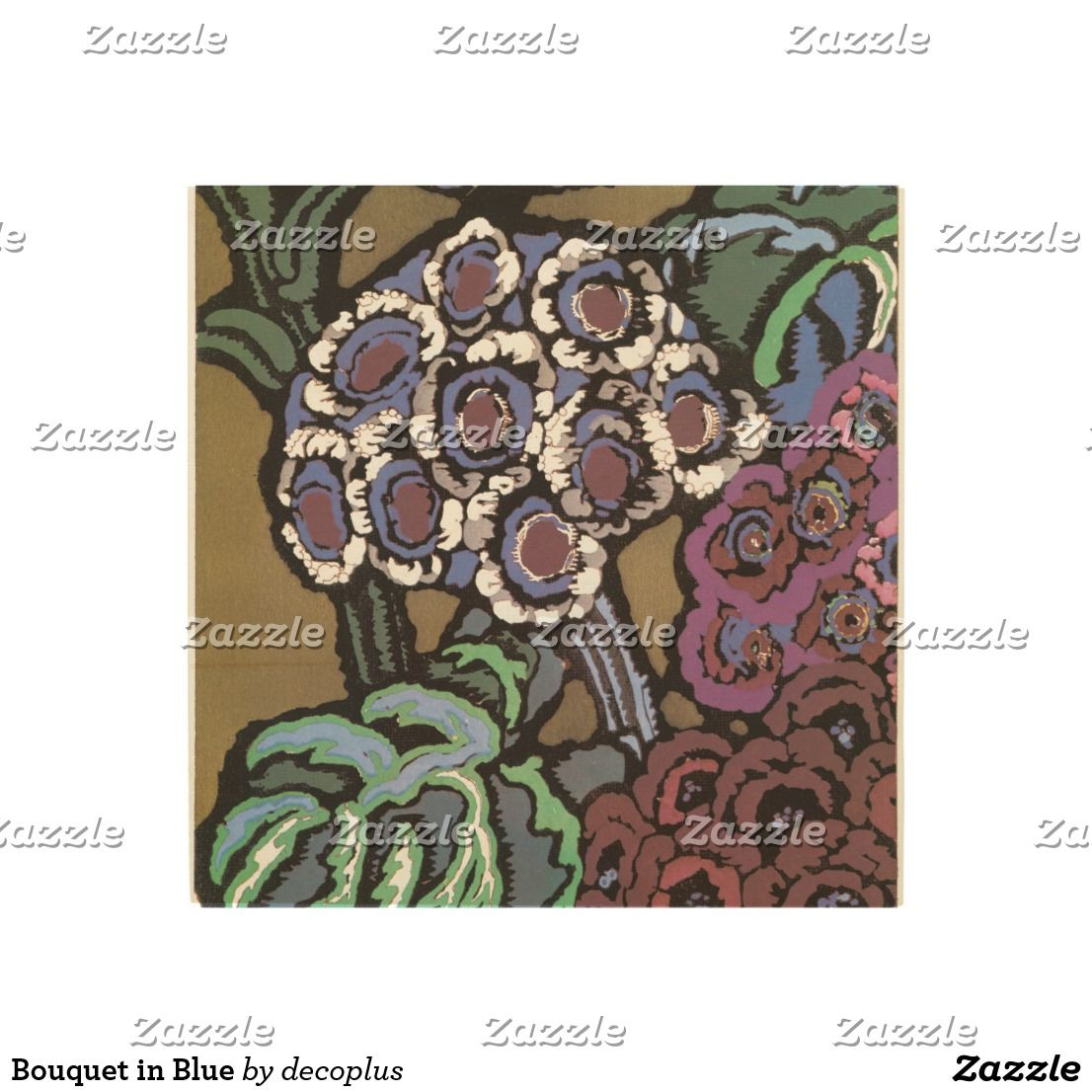 Bouquet in blue wood wall decor in flower artists art