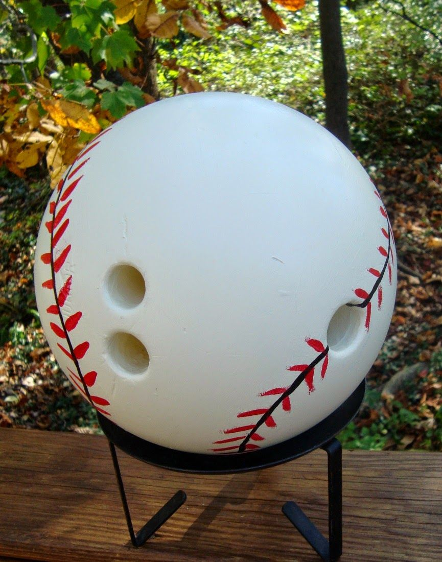 How To Decorate A Bowling Ball Threeoldkeys Baseball Home Opener  Yard Art Bowling Ball