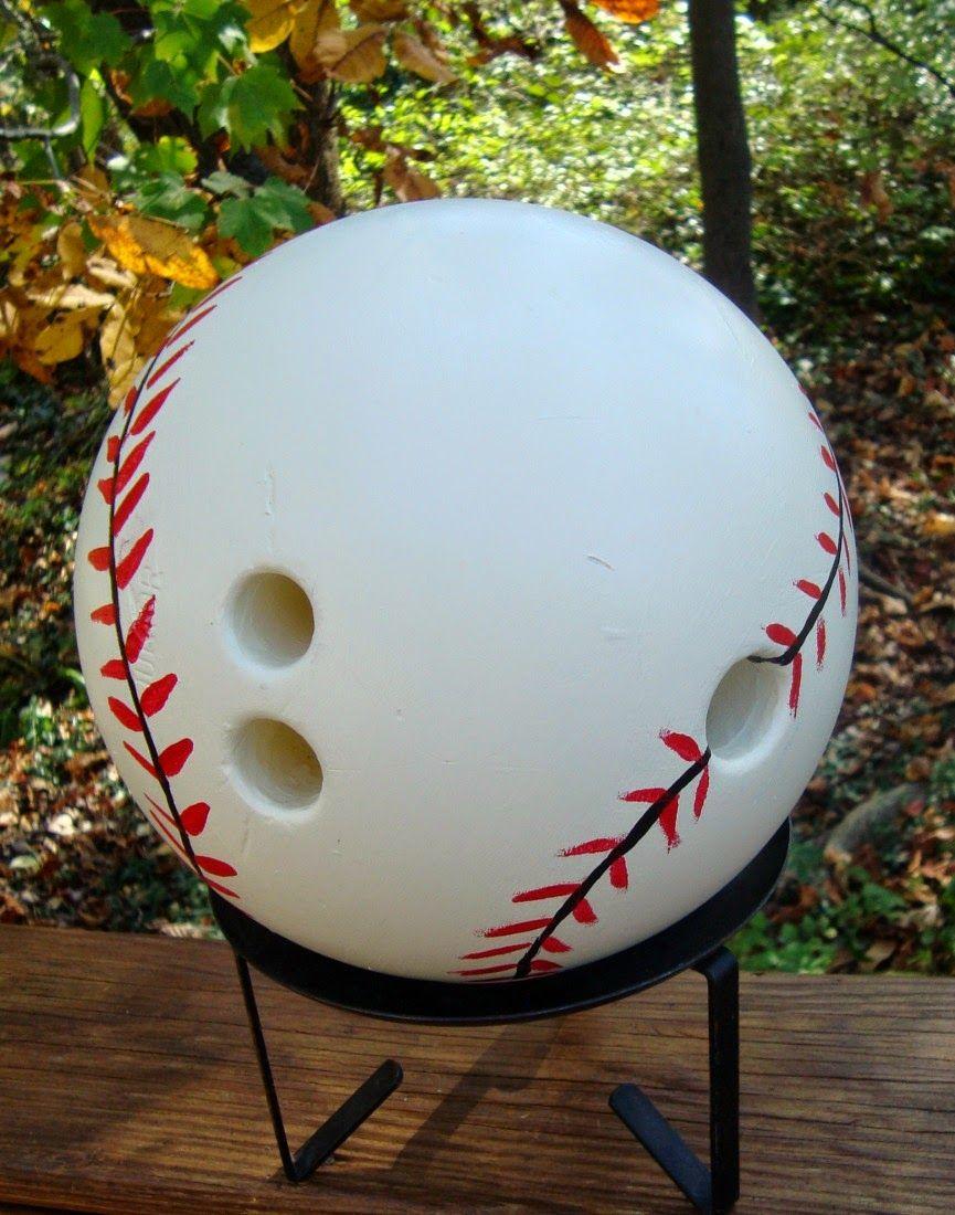 How To Decorate A Bowling Ball Threeoldkeys Baseball Home Opener  Yard Art Bowling Ball