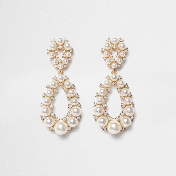 Gold Tone Faux Pearl Teardrop Earrings 21 Liked On Polyvore Featuring Jewelry Tear Drop Stud Teardro