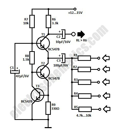 simple audio mixer circuit schematic