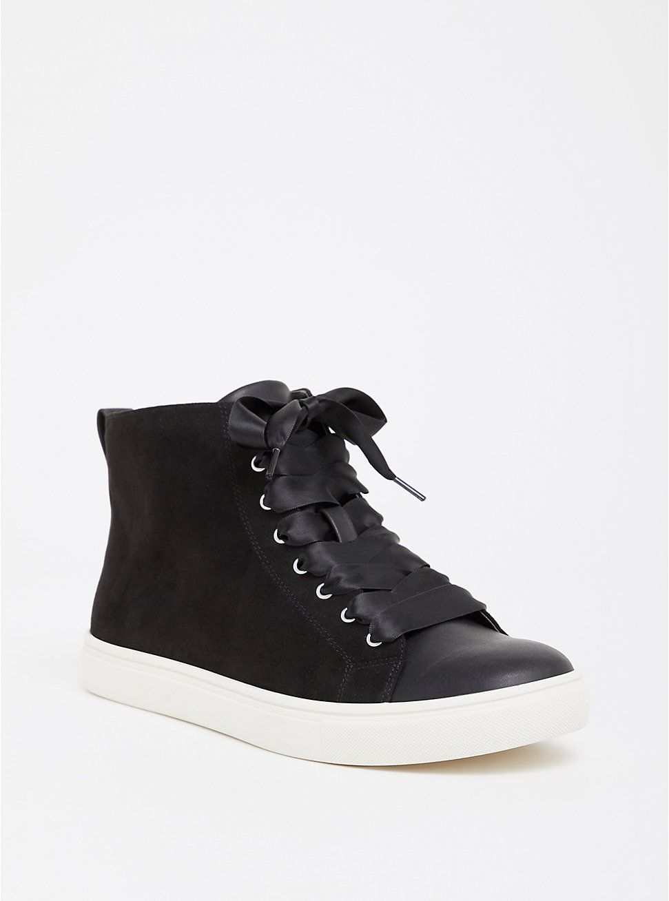 Black Ribbon High Top Sneaker (Wide