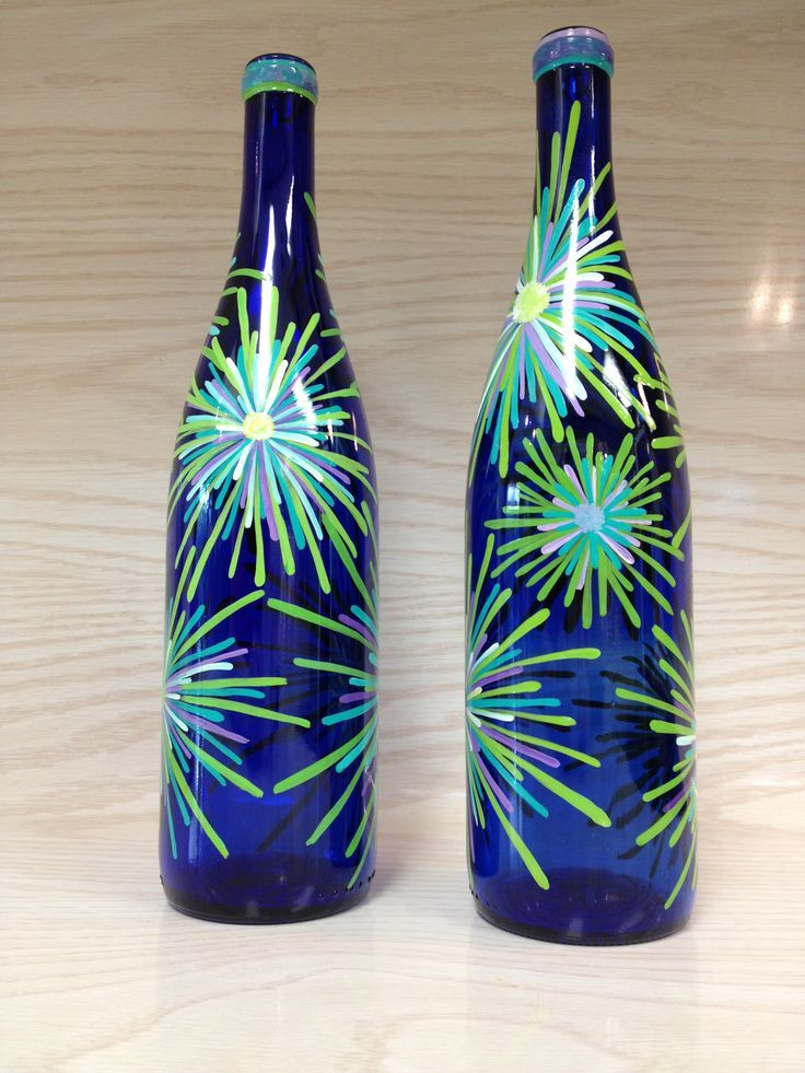 Bottle painting designs color splash design on cobalt blue for Hand painted glass bottles