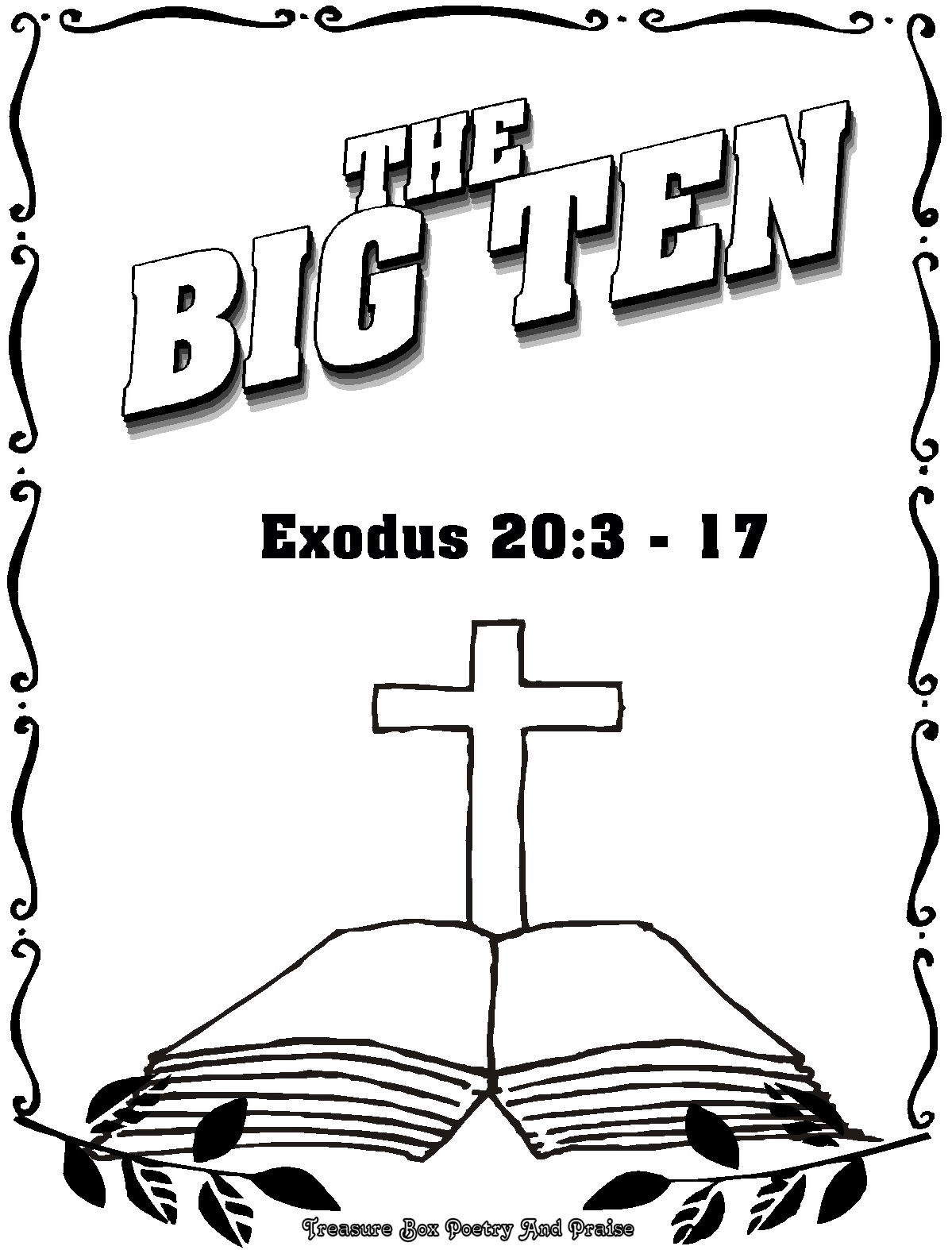 Childrens Gems In My Treasure Box The Big Ten Coloring Book 10 Commandments Bible For Kids Coloring Pages