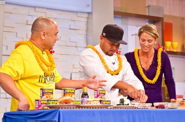 Aloha Shoyu on the table of Good Morning America! Chef Adam Tubura (from Aloha Plate Lunch) with winners of the Food Truck Race last season on the Food Network.