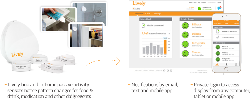 Lively hub and sensors enable notifications by email, text