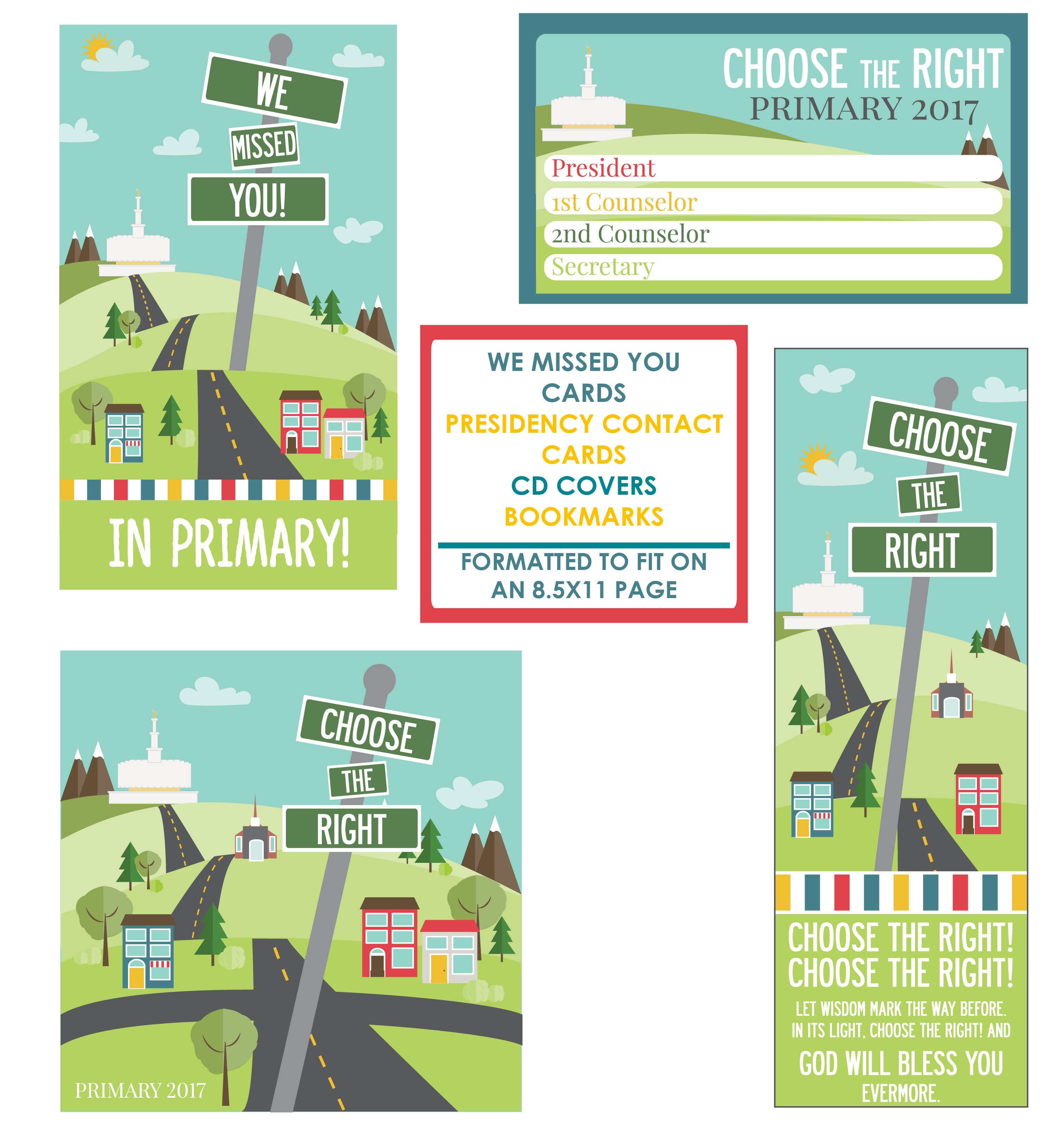 2017 Choose the Right Primary Theme Printables | Primary | Pinterest ...