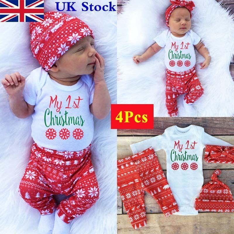 4Pcs Newborn Baby Boys Girls Christmas Clothes Tops Romper Pants Hat Outfits  Set - 4Pcs Newborn Baby Boys Girls Christmas Clothes Tops Romper Pants Hat