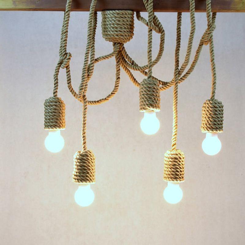 vintage pendentif lumi res luminaires industriels chanvre corde 5 bras e27 titulaire diy. Black Bedroom Furniture Sets. Home Design Ideas