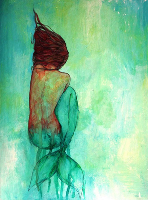 Watercolour mermaid. I don't know why, but I love this painting.
