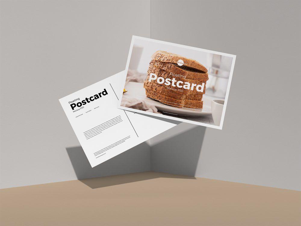 Download Floating Postcard Mockup Psd Postcard Mockup Mockup Free Psd Free Mockup