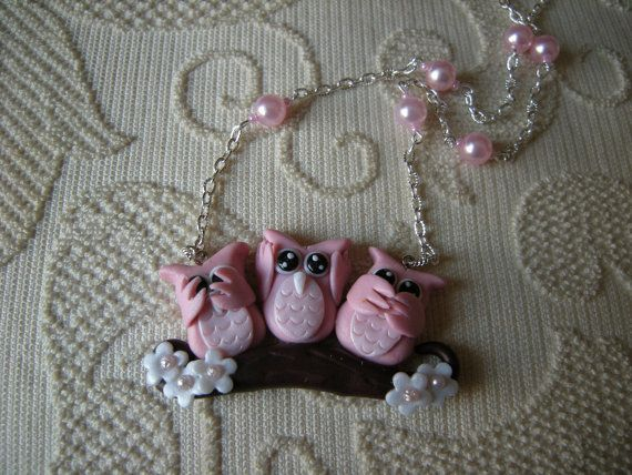 Fimo clay necklace pendant  with three owls on by AlberodelleMele, €11.00