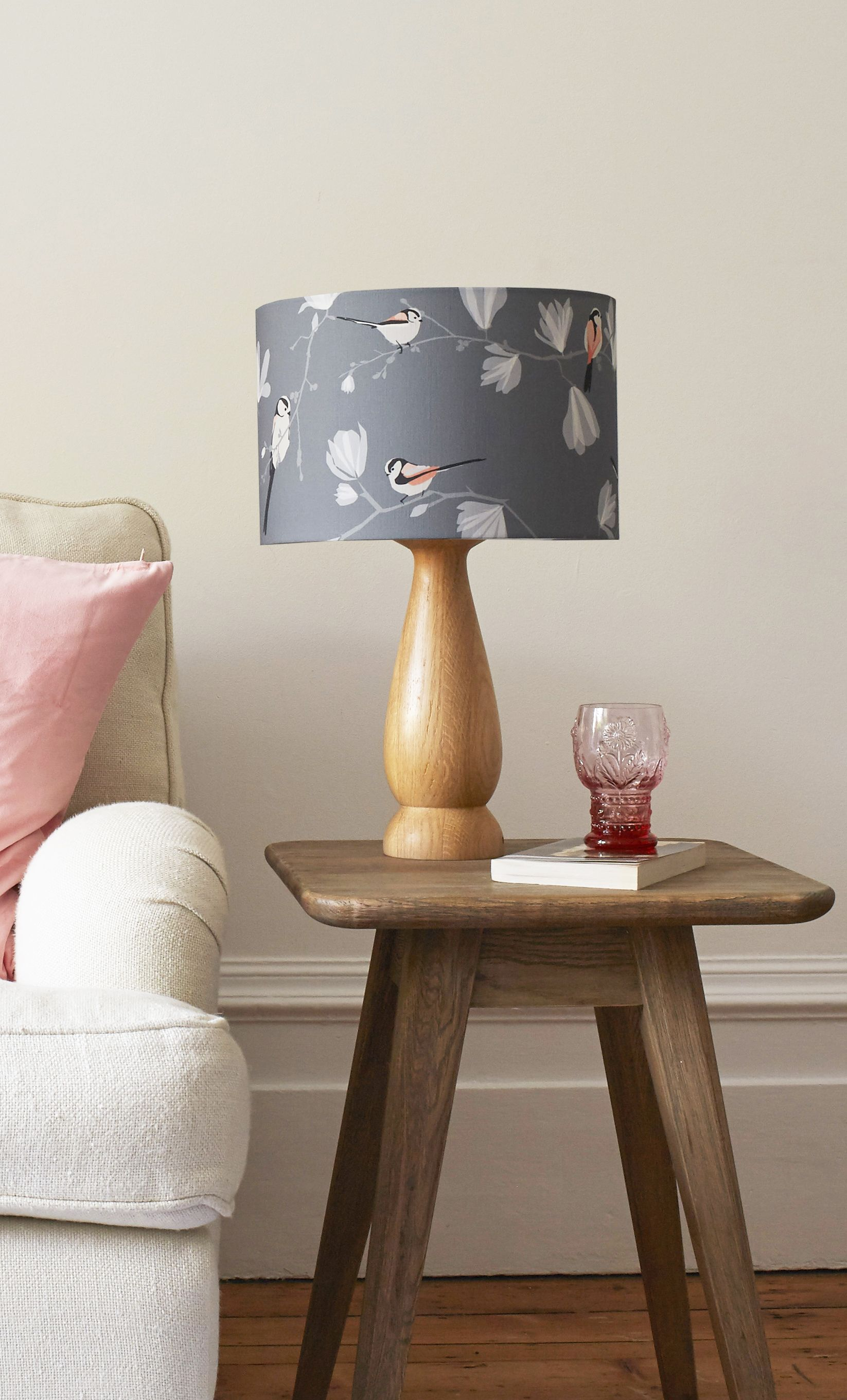 Superior Lorna Syson | Long Tailed Tit Lampshade | Grey And Pink Bird Print With  Magnolia.