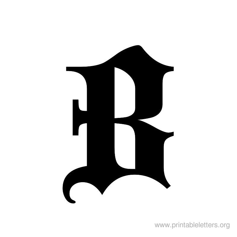 Old English B Letter Initial Vinyl Sticker Decal Font Diploma Choose Size /&Color