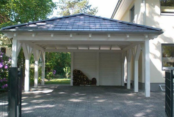 Wooden carport two cars driveway car parking ideas home for Carport garage designs