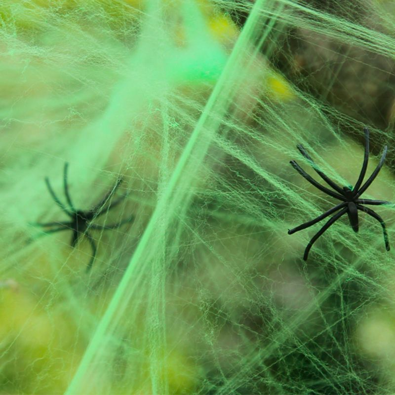 Halloween Spider Web with 4 Black Spider Stretchable Cobweb Party Decoration