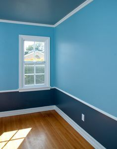 Blue Painted Room Painting Two Colors With Chair Rail Have An Actual Chair .