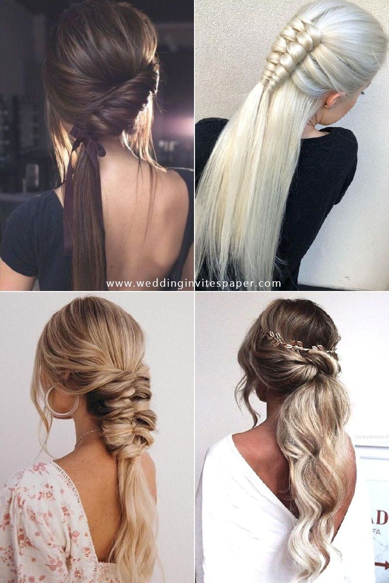 46 Unforgettable Wedding Hairstyles For Long Hair 2019 Stylish Pony Tail Hairstyle With Braid Long Hair Styles Hair Styles Wedding Hairstyles For Long Hair