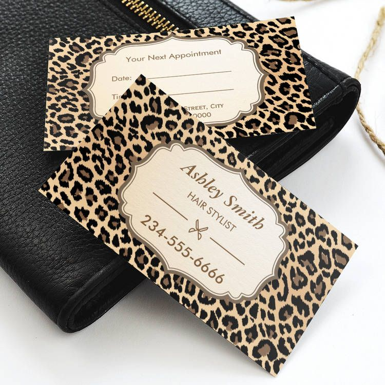 Classy leopard print hair stylist appointment card